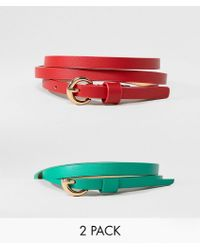 ASOS | 2 Pack Waist And Hip Belts In Red And Green | Lyst