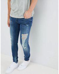 Blend - Distressed Super Skinny Jeans In Dark Wash - Lyst
