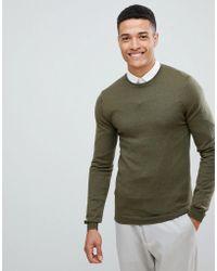 ASOS - Muscle Fit Merino Wool Jumper In Khaki - Lyst