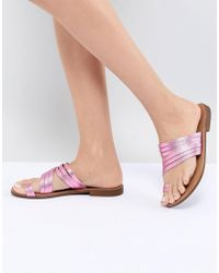Pieces - Metallic Leather Multi Strap Flat Sandal - Lyst