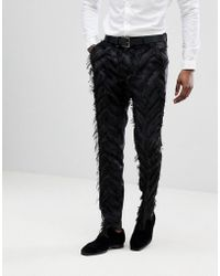 ASOS - Skinny Smart Trousers In Black Fringing - Lyst