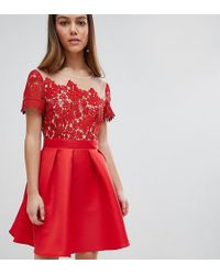 Little Mistress - Lace Top Mini Prom Dress - Lyst