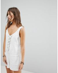 Billabong - Lace Up Beach Playsuit - Lyst