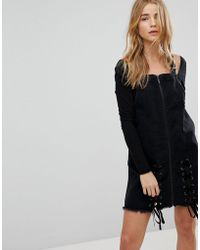 Urban Bliss - Denim Pinafore Dress With Lace Up - Lyst