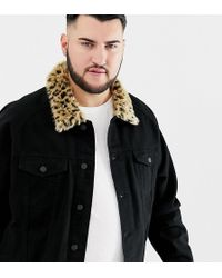 a6d2dea14ab TOPMAN Leather Biker Jacket With Leopard Collar in Black for Men - Lyst