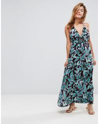 ASOS - Woven Tie Front Maxi Beach Dress In Tropical Pop Print - Lyst