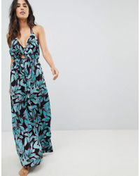 ASOS - Woven Tie Front Maxi Beach Dress In Tropical Pop Print - Lyst