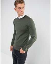 ASOS - Asos Muscle Fit Merino Wool Sweater In Khaki - Lyst