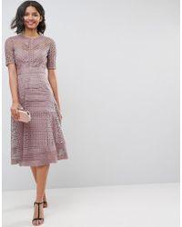 ASOS - Asos Premium Occasion Lace Midi Dress - Lyst