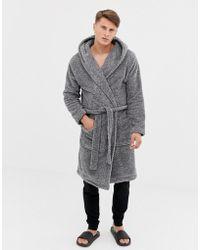 ASOS - Hooded Robe In Fluffy Gray - Lyst