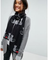 Alice Hannah - Cat & Bow Knitted Scarf - Lyst