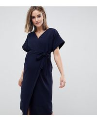 ASOS - Asos Design Maternity Wrap Midi Dress - Lyst
