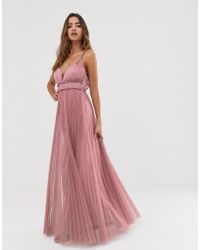 f3658d97bd76 ASOS Bandeau Pleated Column Maxi Dress in Pink - Lyst
