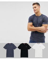 Hollister - 3 Pack Crew Neck T-shirt Seagull Logo Slim Fit In White/navy Marl/black - Lyst