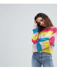 ASOS - Asos Design Petite Stripe Jumper In Open Knit - Lyst