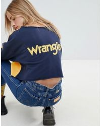 Wrangler - Blue & Yellow Raw Cropped Sweatshirt With Horse Logo & Taping - Lyst