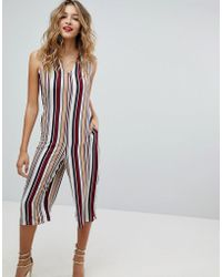 Missguided - Crepe Striped Jumpsuit - Lyst