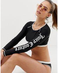 Juicy Couture - Contrast Logo Rash Guard Swim Top - Lyst
