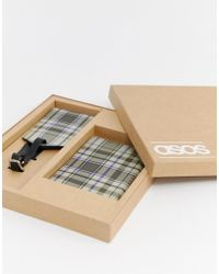 ASOS - Leather Passport Holder And luggage Tag Set In Check Design - Lyst