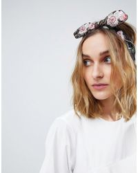 ASOS - Embroidered Floral Knot Bow Headband - Lyst