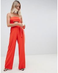 ASOS - Structured Jumpsuit With Cut Out And Belt Detail - Lyst