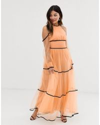True Decadence Premium Off Shoulder Maxi Dress With Contrast Trim In Apricot - Pink