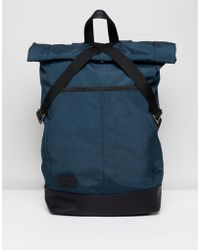 ASOS - Rolltop Backpack In Blue With Faux Leather Base - Lyst