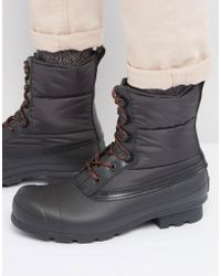 HUNTER - Original Short Quilted Lace Up Boots - Lyst