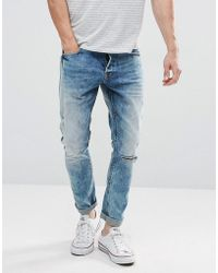 Only & Sons | Slim Jeans With Open Knee Rip | Lyst