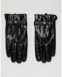 ASOS - Leather Touchscreen Gloves In Black Vinyl Finish - Lyst