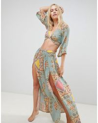 ASOS - Mint Paisley Print Co-ord Tie Front Beach Top - Lyst
