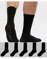 dabd7fc09 Jack & Jones - Pack de 5 pares de calcetines en negro de - Lyst