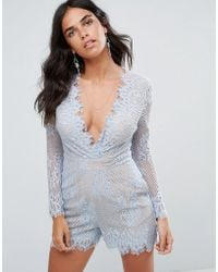 Forever Unique - Plunge V Neck Lace Playsuit - Lyst