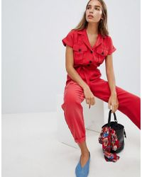 New Look - Utility Button Through Jumpsuit - Lyst