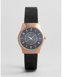 Christin Lars - Mesh Strap Watch In Black With Gold Case - Lyst