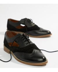 ASOS - Milton Leather Flat Cut Out Brogue - Lyst