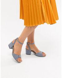 Oasis - Stripe Block Heel Sandals - Lyst