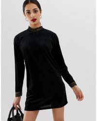 ONLY - Keisha Ribbed Shift Dress With Lace Trims - Lyst