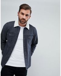 ASOS - Denim Overshirt With Borg Outershell - Lyst