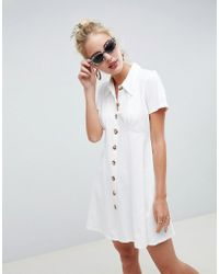 62801780bbe ASOS - Polo Shirt Dress With Faux Tortoiseshell Buttons - Lyst
