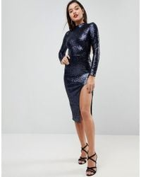 ASOS | High Neck Sequin Open Back Midi Dress | Lyst