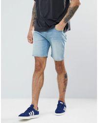 ASOS - Asos Denim Shorts In Skinny Light Wash With Abrasions - Lyst