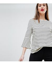 Y.A.S - Stripe Top With Flare Sleeve - Lyst