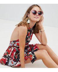 ASOS - Asos Design Petite High Neck Hanky Hem Beach Dress In Mixed Rose Bandana Print - Lyst