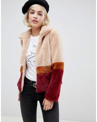 Glamorous - Jacket With Contrast Stripes In Faux Fur - Lyst
