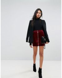 Ivyrevel - Velvet Mini Skirt With Zip Front - Lyst