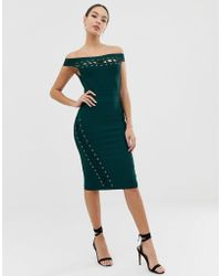 Lipsy - Bandage Midi Dress With Lace Up Detail In Green - Lyst