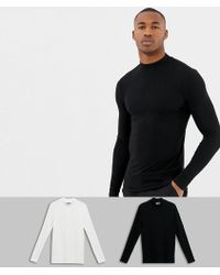 ASOS - Muscle Fit Long Sleeve T-shirt With Turtle Neck 2 Pack Save - Lyst