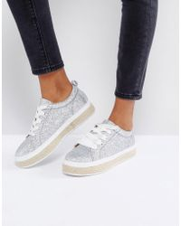 Truffle Collection - Truffle Glitter Espadrille Sneakers - Lyst