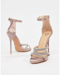78f0f51e88ca True Decadence - Blush Satin Embellished Strappy Sandals - Lyst